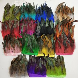 "$enCountryForm.capitalKeyWord Australia - Rooster Hackle Feather Fringe Trim 5-6"" (13-15cm) in Width Pack of Length 10 Meter For Garment Accessories Diy Decoration Crafts Accessories"