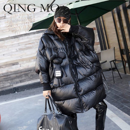 Women Winter Parka Australia - QING MO Winter Women Bat Version Parka Thicking Hooded Solid Color Bat Sleeve Long Loose Mouse Pendent Fashion Women Coat QF165