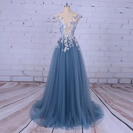 Decorating Art Deco NZ - Party Evening Dress for Woman Scoop A-Line Decorated with Flower Tull Blue Prom Dress for Graduation vestido de festa 2019