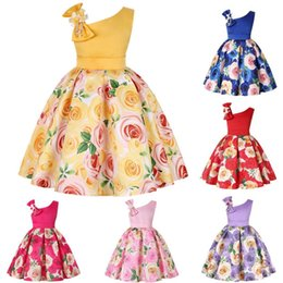 european ball gowns 2019 - Baby Girls Clothes Rose Printed Princess Dress One Shoulder Girls Party Dresses Boutique Kids Clothing 6 Colors Optional