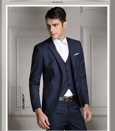 Navy Suit Fashion Australia - Custom Made Dark Navy Blue Men Suit 2019 Fashion Groom Suit Wedding Suits For Men Slim Fit Groom Tuxedos For Best Man(Jacket+Vest+Pants)