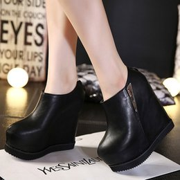 HigH Heels ankle boots 14cm online shopping - Hot Sale High quality Women leather Ankle Boots Women cm High Heels Platform Boots Sexy Nice Black Round Toe Wedges Nightclub Shoes Woman