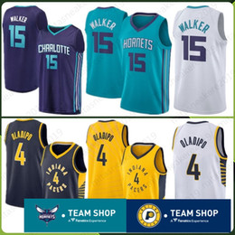 99aef428a Indiana 2019 New Pacers Jersey 4 Victor 15 Kemba Oladipo Charlotte  Embroidery Logos Hornets 77 Luka Walker Doncic Stitched Jerseys