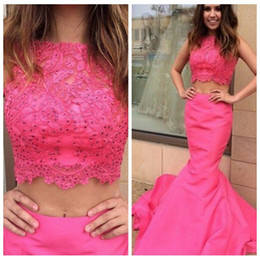 Cheap Triangle Tops NZ - 2019 O-Neck Slim Mermaid Prom Dresses Lace Top Beaded Two Piece Junior Formal Vestidos De Soiree Custom Evening Party Gowns Cheap