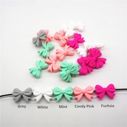 $enCountryForm.capitalKeyWord NZ - Chenkai 10pcs BPA Free Silicone Bow Tie Teether Beads DIY Baby Shower Teething Montessori Sensory Toy Bow-Knot Accessories
