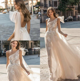 Gold applique weddinG Gown online shopping - 2019 New Muse by Berta Wedding Dresses One Shoulder Backless Bridal Gown Appliqued A Line Beach Boho Simple See Through Wedding Dress