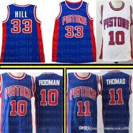 3f3dc17c5b1 11 Isiah   Thomas 10 Dennis   Rodman Detroint Jersey Pistons 33 Grant   Hill  Mesh Retro Basketball Jerseys negro GREEN blanco azull