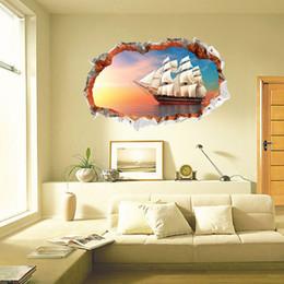 Sea Decor Australia - Sailing Sunset Sea 3D Broken Wall Vinyl Art Sticker Self-adhesive Nautical Wall Decal for Living Room Bedroom Decoration Nature Decor