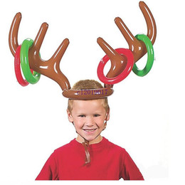Chinese  New Inflatable Kid Children Fun Christmas Toy Toss Game Reindeer Antler Hat With Rings Hats Party Supplies#455 manufacturers