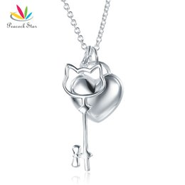necklaces pendants Australia - Kids Girl Heart Key Pendant Necklace Solid 925 Sterling Silver Children Jewelry CFN8062 Dropshipping Service Available