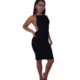 Sexy Party Clothes For Women Australia - Women Sexy Dress Summer Solid Sleeveless Backless Skinny Slim Clothes For Beach Club Evening Party 2019 New Design Hot sale