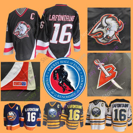 b98ad18eb Pat LaFontaine Jersey With 2003 Hall Of Fame Patch Ice Hockey Buffalo  Sabres NEW York Islanders Jerseys CCM Vintage White Navy Home Away