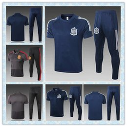 soccer polo Canada - Sp.ain Soccer Polo Training Suit Tracksuit Sets POLO Traning Jersey and Soccer Pants Short Sleeve Football Polos Football Jersey Kit Shirts