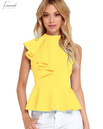ruffle back blouse NZ - Summer Fashion Peplum Tank Top Women Elegant Asymmetric Ruffle Side Peplum Top Turtleneck Sleeveless Back Zipper Shirt Blouses