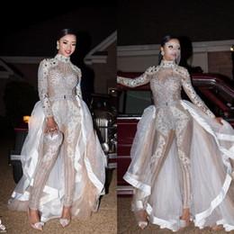Glitz Durchsichtig Jumpsuits Pageant Prom Dresses mit abnehmbarem Rock High Neck Langarm Kristall Pailletten Perlen Sexy Party Abendkleider im Angebot