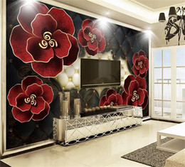 leather living room wallpaper UK - Custom Any Size 3d Wallpaper Embossed Leather Flowers European Style 3D Living Room Bedroom Background Wall Decoration Mural Wallpaper