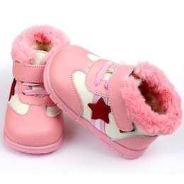 leather baby boy shoes Canada - Keep Warm Boy Snow Soft Leather Winter Boots For Girl Infant Kids Baby First Walkers Shoes J190518