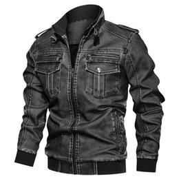 mens vintage leather motorcycle jackets NZ - Autumn Winter New Men Leather Jacket Killer Vintage Motorcycle Faux Leather Coat Fashion Pu Plus Size L -6xl Bomber Jacket Mens