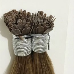 Wholesale Grade- 9A Fan Tip hair brown Color 8# Remy human Hair Straight 0.8g  strand 100s ,free dhl