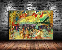 Cafe Deux Magots, Canvas Painting Living Room Home Decor Moderna pittura a olio di arte murale in Offerta