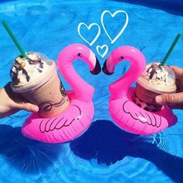 wholesale pool toys sale Australia - Inflatable Flamingo Drinks Cup Holder Pool Floats Bar Coasters Floatation Devices Children Bath Toy small size Hot Sale 100pcs H0528