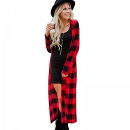 Chinese  Women Plaid coat Lady long Cardigan tops causual long sleeve V neck jackets Outwear plaid Trench Coats GGA1551 manufacturers