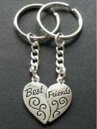 $enCountryForm.capitalKeyWord Australia - Vintage Silver Best Friends BFF Couple Keychain Heart Shape Handcuffs Key Chain For Keys Car Bag Key Ring Handbag Key Chains