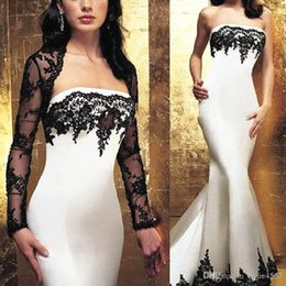 Wholesale sexy summer jackets for woman resale online – 2019 New Zuhair Murad Mermaid Dresses Evening Wear Strapless Black Lace Trumpet Formal Women Prom Dress With Long Sleeves Jacket For Mother