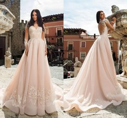 77f5cfa7d607 2019 Designed Blush Pink Wedding Dresses A Line Applique Sheer Long Sleeve  Wedding Dress Plus Size Country Beach Boho Bridal Gowns