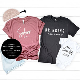 1b50f15839993 OKOUFEN Pregnancy Announcement DRINKING FOR THREE Sober Baby Family  Matching T-shirt Casual Pregnant New Mom Top Tee Plus Size