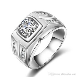 Stamp Rings Australia - Fashion Mens 925 Sterling Silver Jewelry With Stamp 0.75ct Gemstone Zircon Diamond Engagement Wedding Band Rings For Men Size 6-12