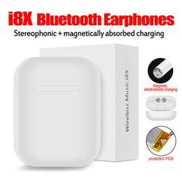 I8X TWS Bluetooth Casques Jumeaux Écouteurs Sans Fil Stéréo Écouteurs pour iPhone X Samsung Android avec le paquet de vente au détail