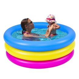 inflatable tub pool UK - 3 Sizes Inflatable Swimming Pool Thickened 3-Ring Round Paddling Pool Bathing Tub Outdoors Summer Swimming For Kids