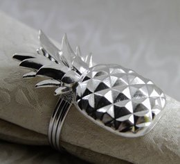 metal shapes 2019 - metal napkin ring pineapple shape napkin holder for wedding decoration gold silver 24 pcs free shipping cheap metal shap