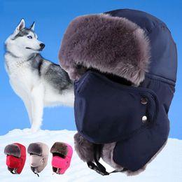 $enCountryForm.capitalKeyWord Australia - 1pcs lot Winter Earflap Hat Men Women Thicken Cotton Fur Keep Warm Caps Six Colors Available for Ski Climb Hiking Bomber Caps