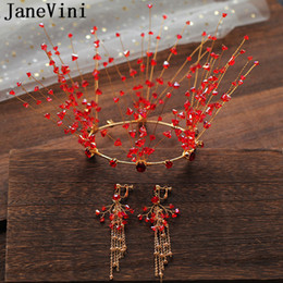 $enCountryForm.capitalKeyWord Australia - JaneVini Red Gold Rhinestone Wedding Tiaras and Crowns Earrings Princess Round Bridal Head Jewelry Hair Accessories Bride Headpieces 2019