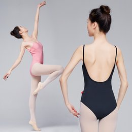 costume leotards for women 2020 - Ballet Leotards for Women Adult Dance Camisole Gymnastics Leotard Pink Sexy U-shaped Back Ballet Costume cheap costume l