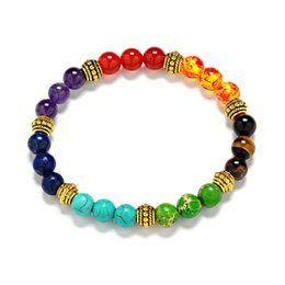 Reiki Healing Wholesalers Australia - 7 Chakra Bracelet 8mm Healing Reiki Prayer Bangle Natural Stone Yoga Balance Beads Stretch Bracelets Women Men Jewelry Gift 4 Styles M10F
