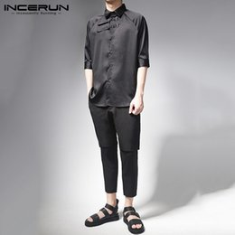 shirt vintage male Australia - INCERUN Mens Vintage Half Sleeve Shirt Male Turndown Collar Solid Color Camisa Black Casual Slim Blouse Man Fashion Stylish Top