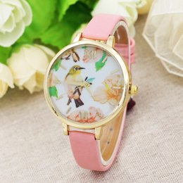 $enCountryForm.capitalKeyWord NZ - Hot Jewelry Fine Belt Lady Watch Big Dial Bird Flower Watch