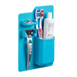 $enCountryForm.capitalKeyWord Australia - Silicone Toothbrush Holder Wall Hanging Shaver Storage Seamless Waterproof Toothpaste and Shaver Organizer