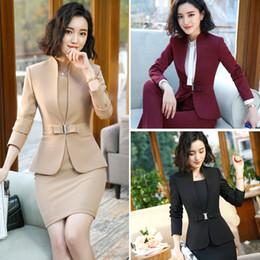 ElEgant suits sEts for woman online shopping - Formal Office Dress Set for Womens Blazers long Sleeve Uniform Elegant Feminino Business Jacket Dress Suit Plus Size XL