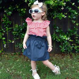 $enCountryForm.capitalKeyWord Australia - Baby girl denim skirt suit summer baby toddler lotus leaf collar plaid + lace denim skirt two-piece tutu dresses kids clothing