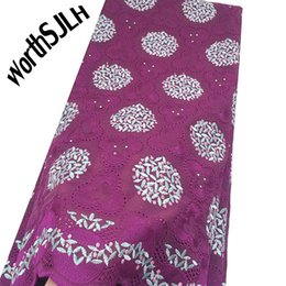 blue dry lace NZ - WorthSJLH Magenta Dubai Swiss Voile Cotton Lace Fabric 2019 Blue African Swiss Voile Lace In Switzerland High Quality Nigerian Dry Laces