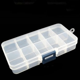 Compartment Rings Wholesale Australia - Adjustable Plastic 10 Compartment Storage Box Case Bead Rings Jewelry Display Organizer Jewelry Container (Hasp Random