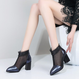 Female Hollow Boots Australia - 2019 New Genuine Leather hollow out women mesh boots summer woman Cool boots High heels fashion Breathable Female booties