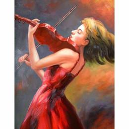 $enCountryForm.capitalKeyWord Australia - Square&Round Creative Diamond Embroidery Violin Girl 5D Diy Diamond Painting Cross Stitch Decor Diamond Mosaic Home Gift