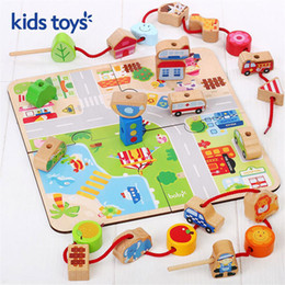 child threading beads NZ - Wooden baby beaded puzzle toy baby boys and girls beads early education thread children building blocks color Birthday Gifts