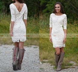 Mini brides white gowns online shopping - 2019 Cheap Short Sheath Beach Country Lace Wedding Dresses Scoop Neck Half Sleeves Mini Bride Party Gowns Custom Made Beach Bridal Gowns