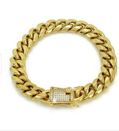 mens steel diamond bracelet UK - Mens Miami Cuban Link Bracelet 18k Gold Plated 12mm Thick Iced Out Diamond Clasp
